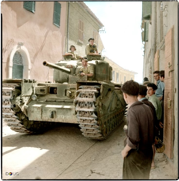 Churchill IV et civils italiens (11 septembre 1944)