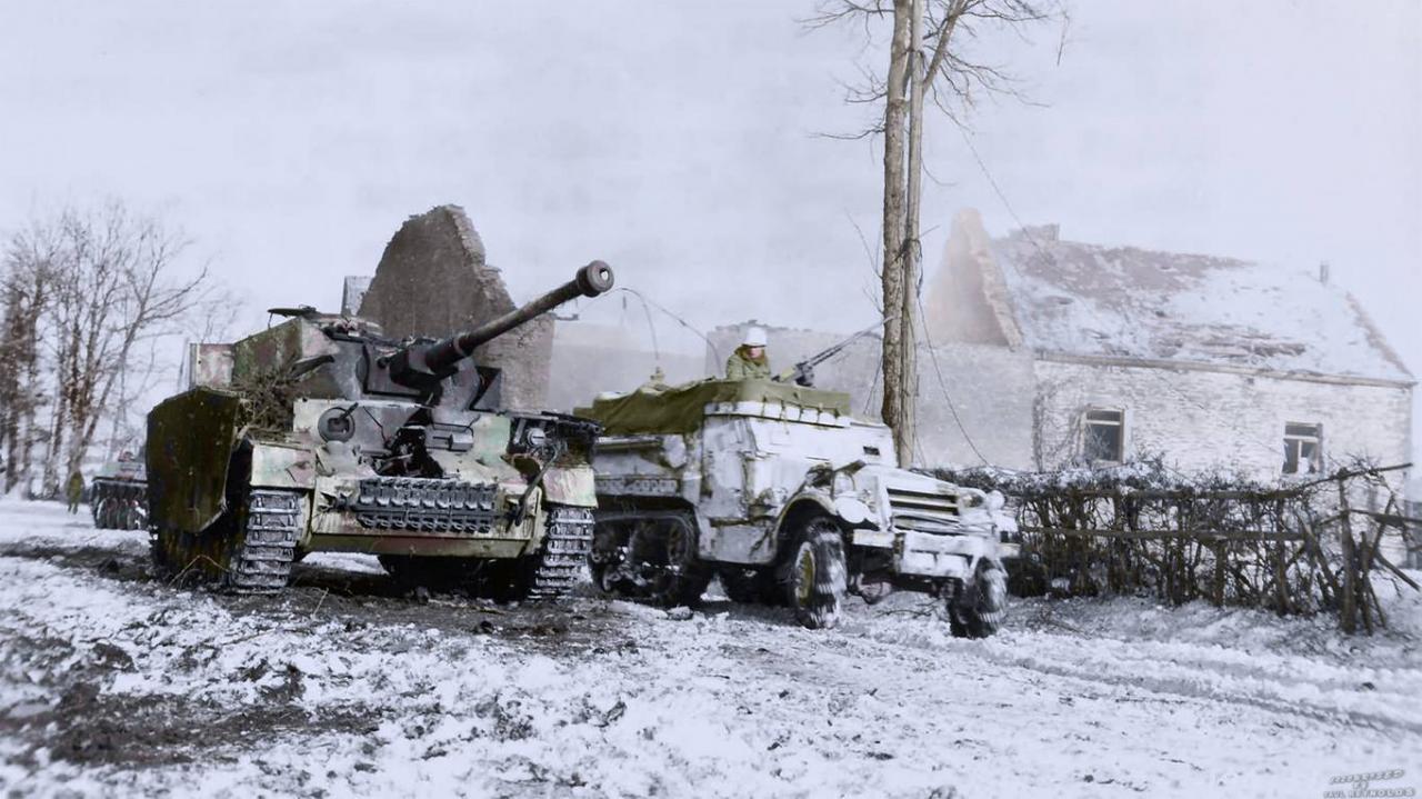 Half track et Panzer IV ausf. H détruit (1945)