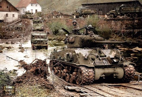 Sherman Jumbo et Dodge (3-4 avril 1945)