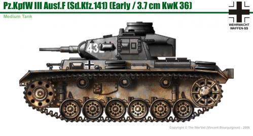 Panzer III ausf. F (début de production) côté