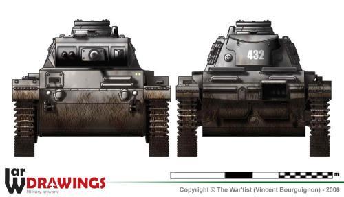 Panzer III ausf. F (début de production) face et arrière