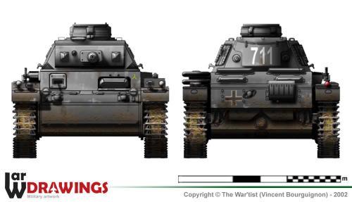 Panzer III ausf. H (début de production) face et arrière