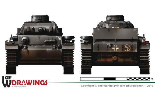 Panzer III ausf. J (début de production) face et arrière