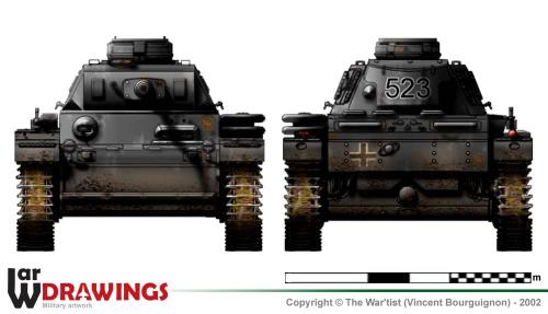 Panzer III ausf. J (fin de production) face et arrière