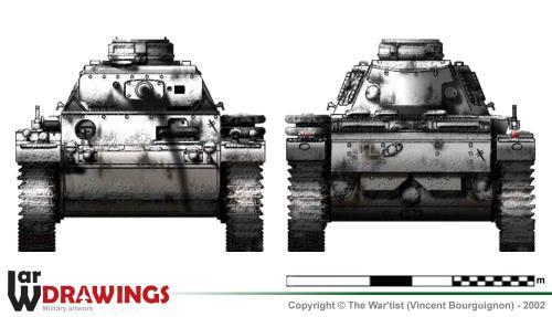 Panzer III ausf. L (début de production) face et arrière